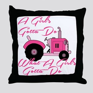 Pink Tractor Throw Pillow